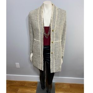 H&M Frayed Oatmeal Tweed Jacket w/ Gold Accents
